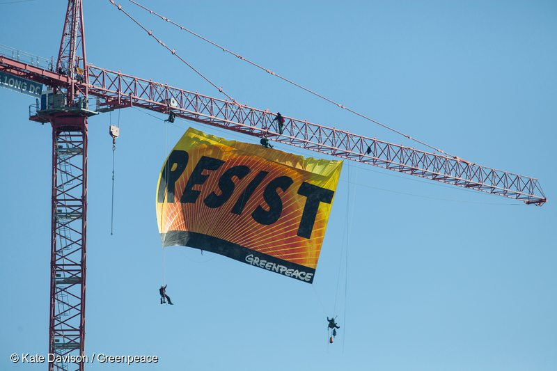 Resist Trump Banner Action in Washington D.C.