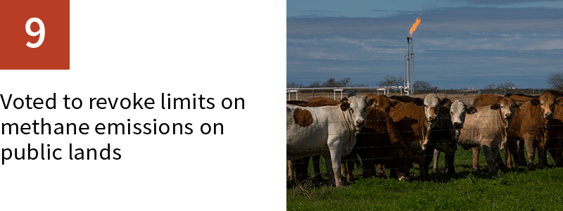 9. Voted to revoke limits on methane emissions on public lands
