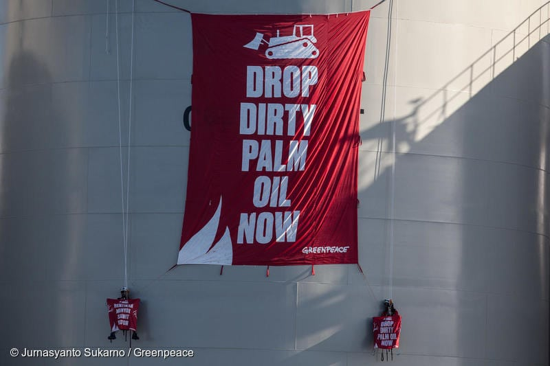 """Greenpeace activists unfurl a banner reading """"Drop Dirty Palm Oil Now"""" at the Wilmar International refinery in Bitung, North Sulawesi. The refinery, on the Indonesian island of Sulawesi, processes palm oil from major producers that are destroying rainforests in Kalimantan and Papua, Indonesia."""