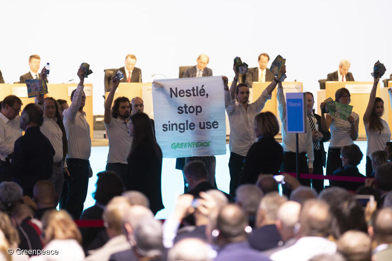 Greenpeace Switzerland activists confront Nestlé with its single-use plastic found polluting the world's oceans at the company's Annual General Meeting today. Greenpeace is demanding that Nestlé end its reliance on single-use plastic, and invest immediately in alternative delivery systems based on refill and reuse.