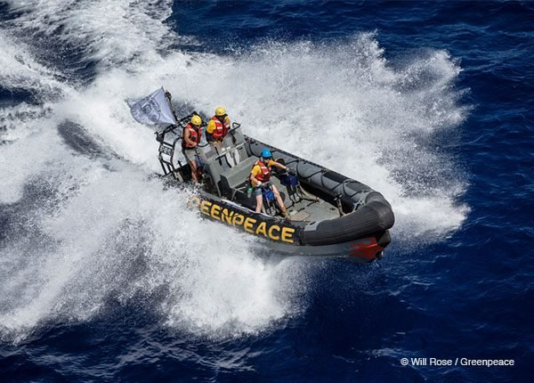 Inflatable boat in the Indian Ocean