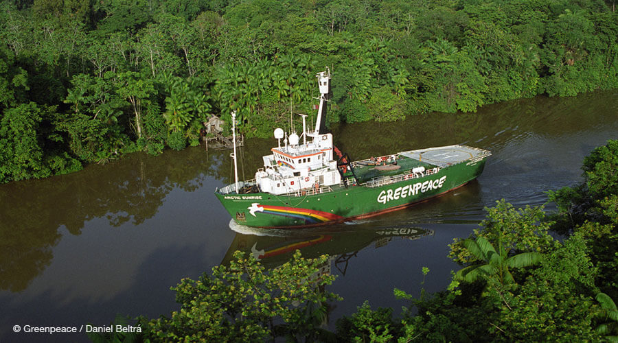 Vegetation, Ships in rivers, lakes and estuaries MV Arctic Sunrise making it's way down an Amazon river.