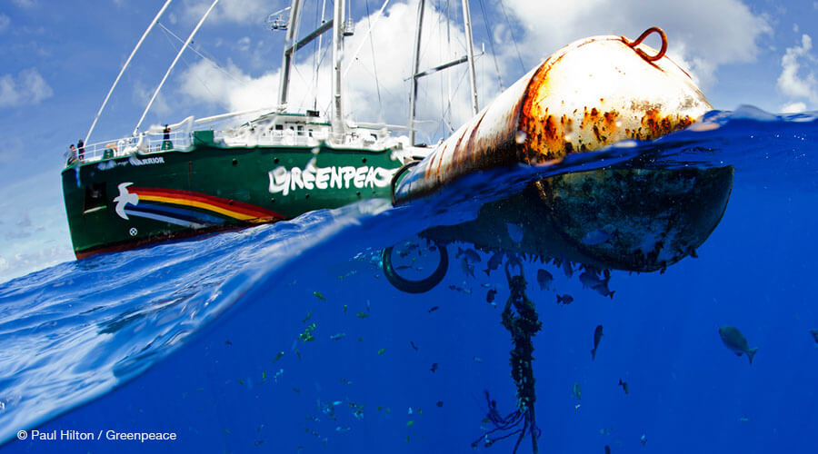 A fish aggregating device floats nearby the Greenpeace ship Rainbow Warrior