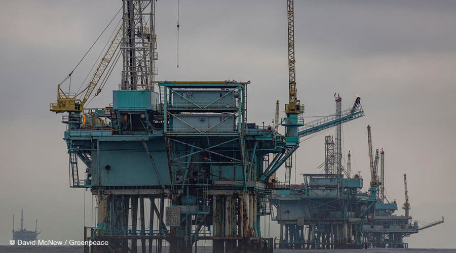 Drilling platforms are seen off Santa Barbara, California