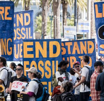 Activists participate in the Rise for Climate, Jobs & Justice march
