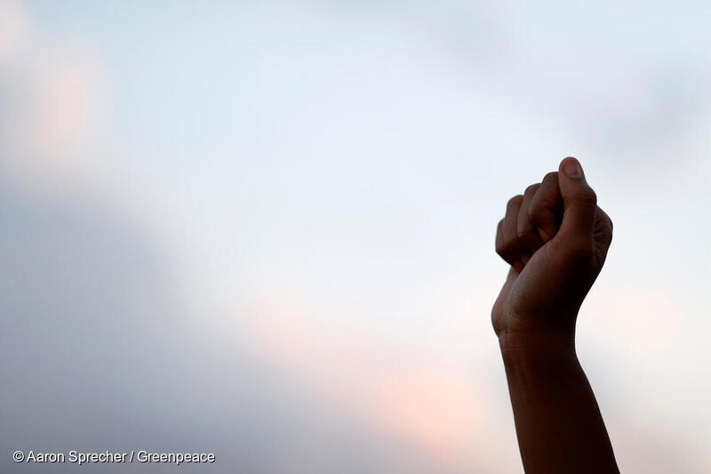 Photo: A fist raised in protest.