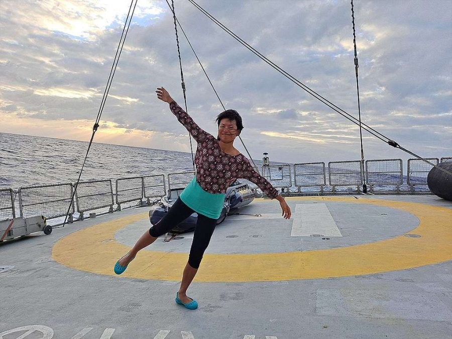 Photo: Here's me trying to balance while the ship is rolling. © Kelly Huang / Greenpeace