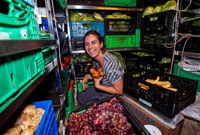 Cook, Laurence Nicoud stores provisions on board the Rainbow Warrior in Colón, Panama. © Marten van Dijl / Greenpeace