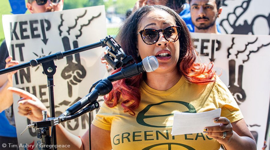 Ebony Twilley Martin, co-Executive Director, Greenpeace USA, speaks at a climate rally.